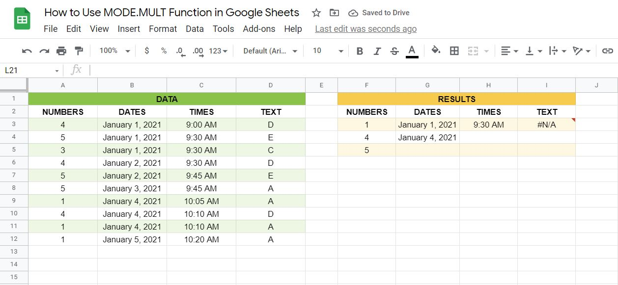Results of the MODE.MULT function in Google Sheets