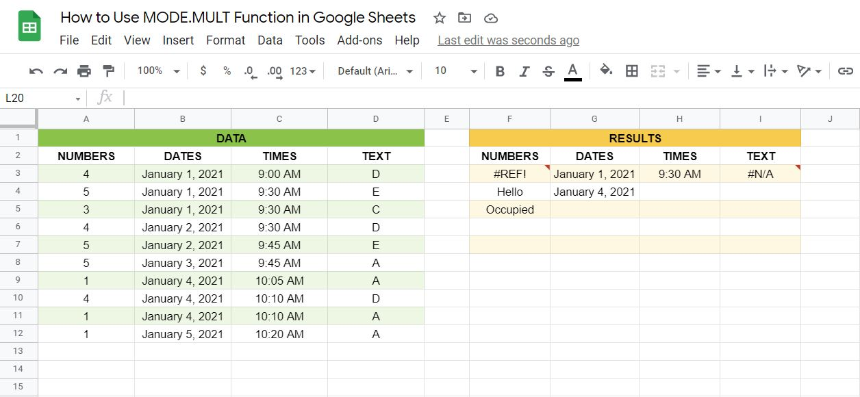 Errors on the MODE.MULT function in Google Sheets