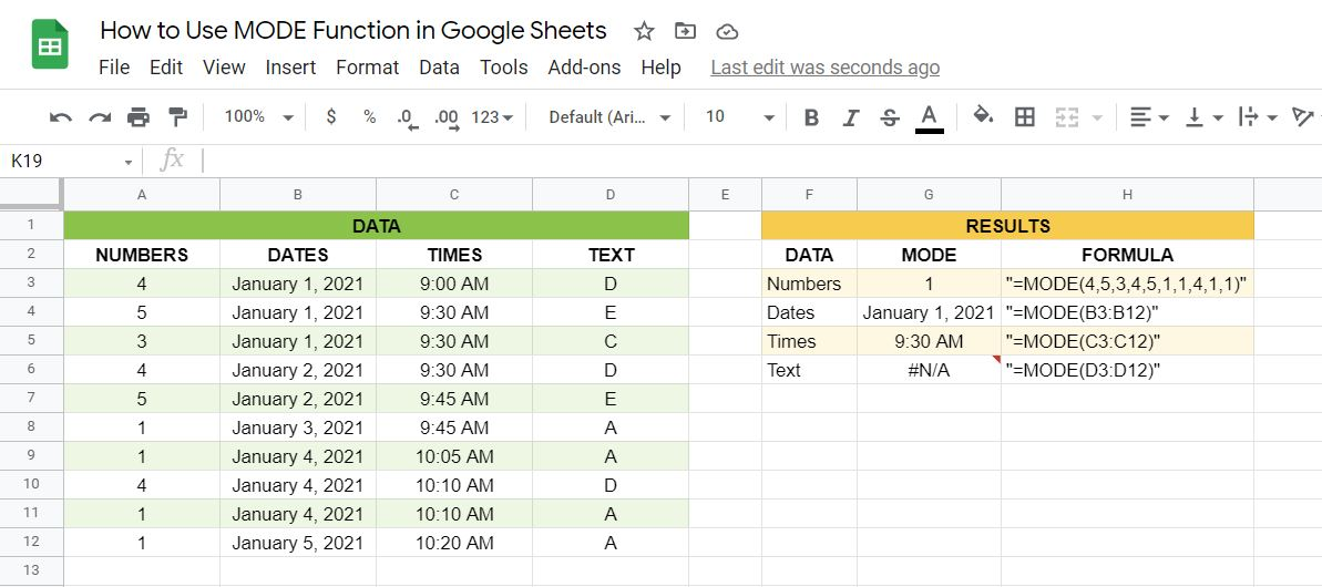 How to use the MODE function in Google Sheets
