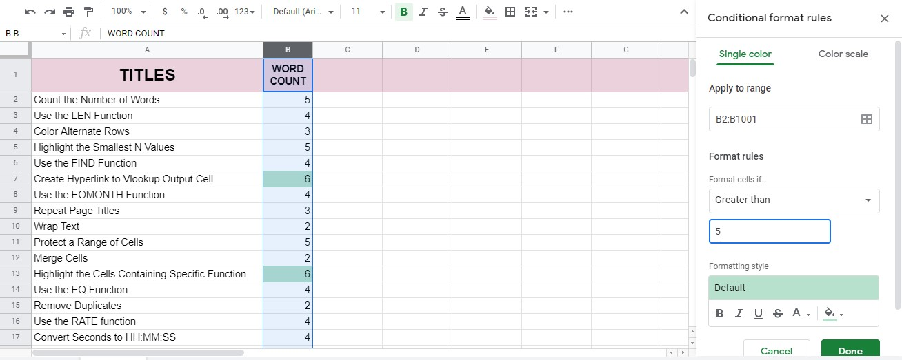 How to Count the Number of Words in Google Sheets