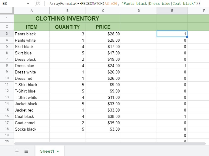How to Match Multiple Values in a Column in Google Sheets