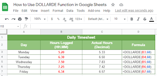 Sample on how to use DOLLARDE function in Google Sheet
