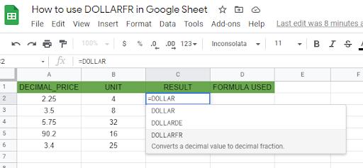 DOLLARFR function in Google Sheet - Sheetaki