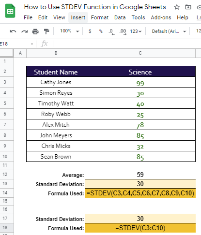 how to use STDEV function in Google Sheet
