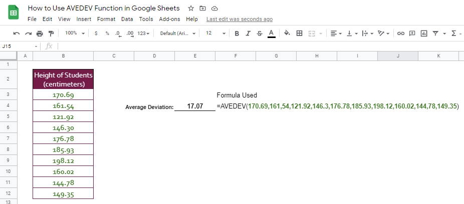 how to use AVEDEV function in Google Sheet