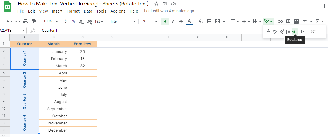 How to Make Text Vertical in Google Sheets