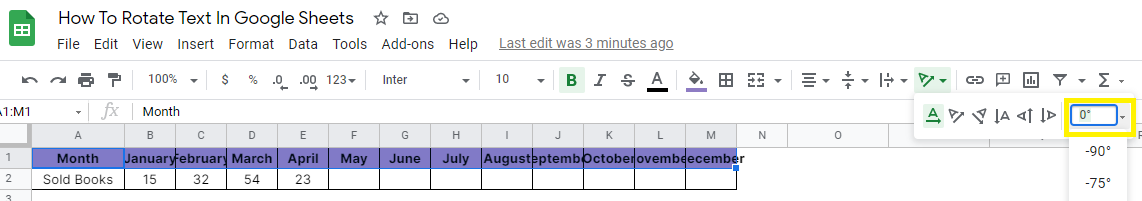 How to Rotate Text in Google Sheets
