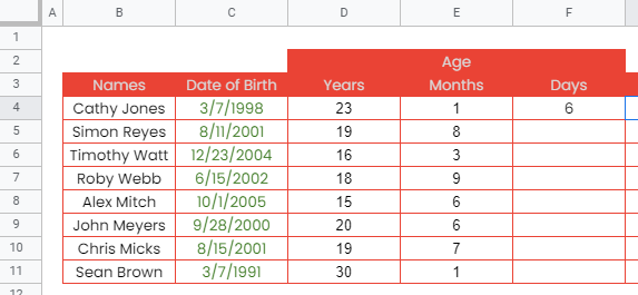 How to use DATEDIF function in Google Sheets
