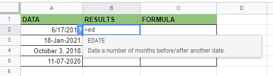 How to use EDATE function in Google Sheets
