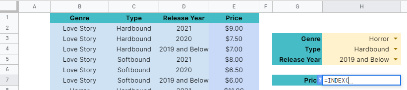 How to use INDEX and MATCH function with Multiple Criteria in Google Sheets