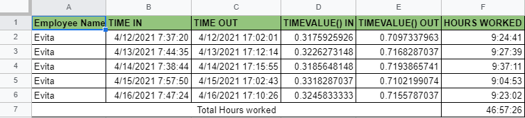 How to use TIMEVALUE function in Google Sheets