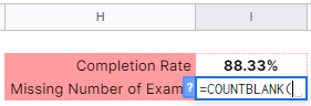 How to use COUNTBLANK function in Google Sheets