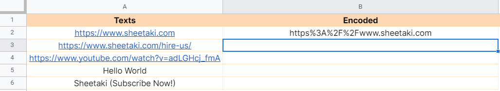 How to use ENCODEURL function in Google Sheets