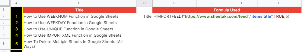 How to use IMPORTFEED function in Google Sheets