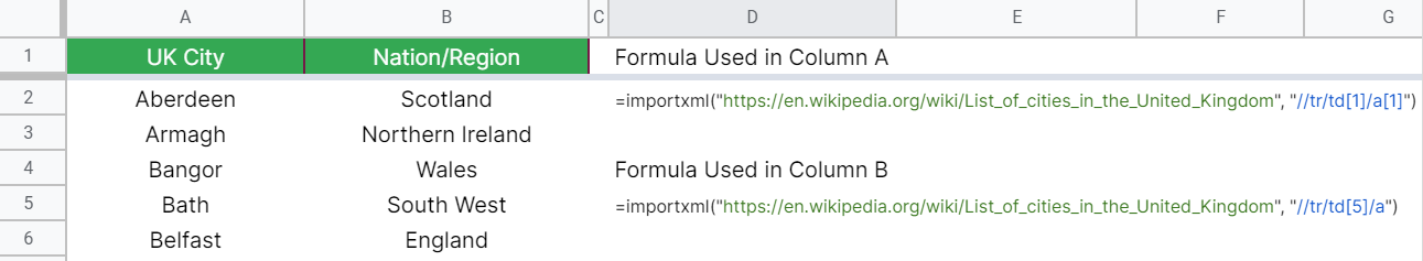 How to use IMPORTXML function in Google Sheets