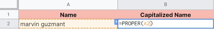 How to use PROPER function in Google Sheets