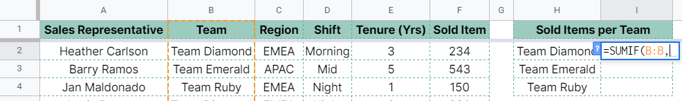 How to use SUMIF function in Google Sheets