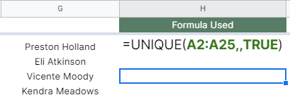 How to use UNIQUE function in Google Sheets
