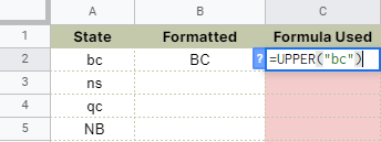 How to use UPPER function in Google Sheets