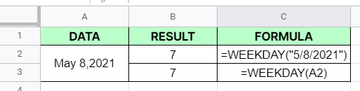 How to use WEEKDAY function in Google Sheets