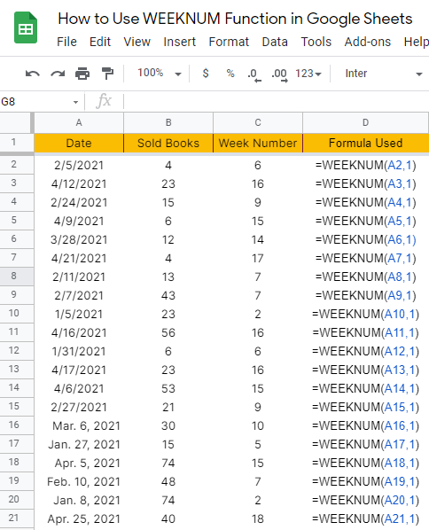 How to use WEEKNUM function in Google Sheets