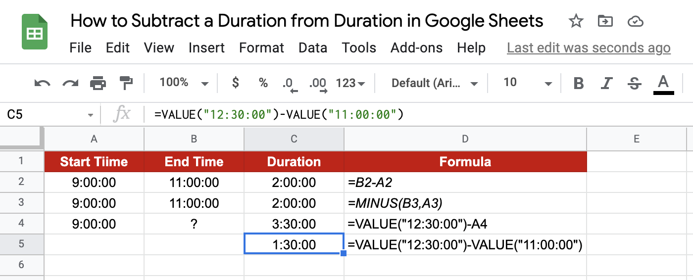 Subtract Durations in Google Sheets