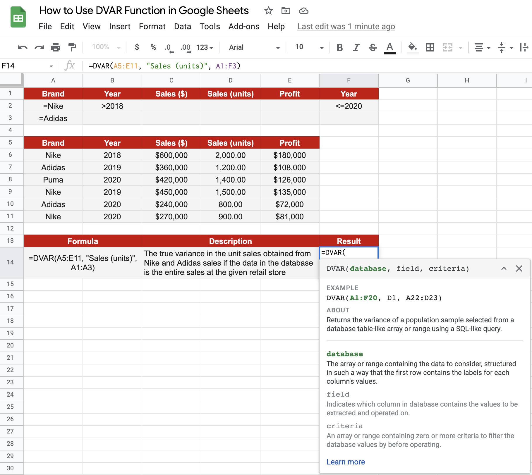 DVAR() in Google Sheets