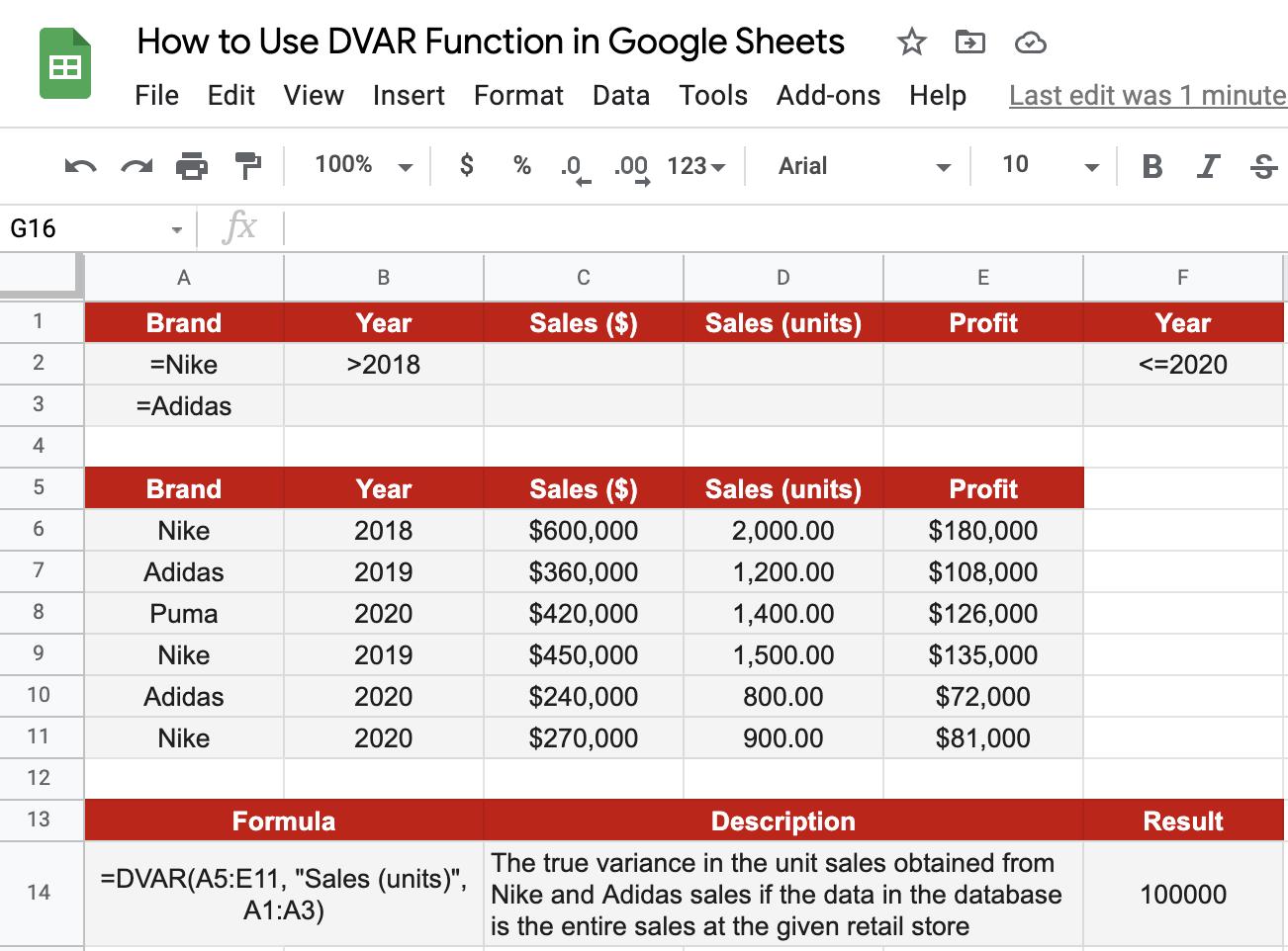 DVAR() Example Output