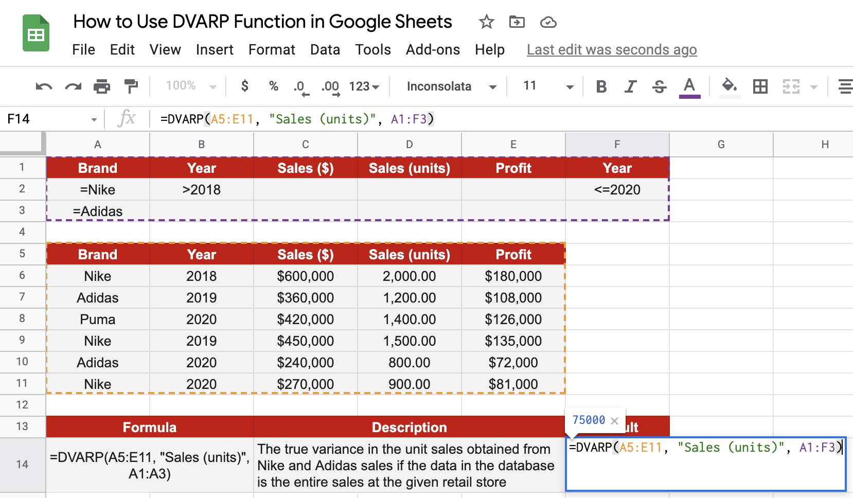 DVARP function in Google Sheets