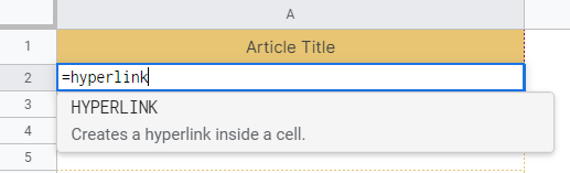 How to use HYPERLINK function in Google Sheets