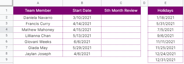 How to use WORKDAY.INTL function in Google Sheets