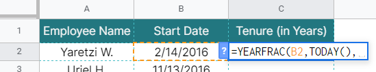 How to use YEARFRAC function in Google Sheets