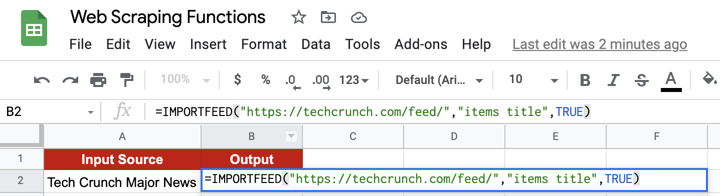 IMPORTFEED function in Google Sheets