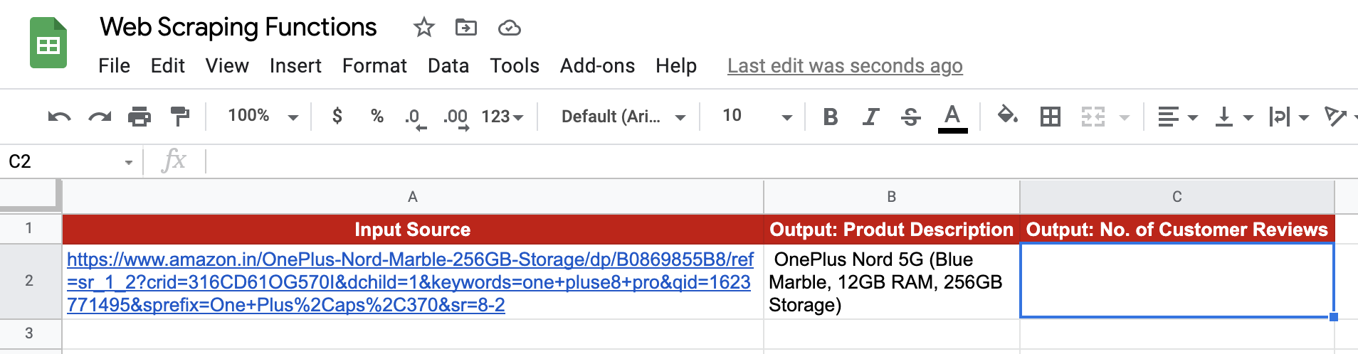 IMPORTXML function in Google Sheets