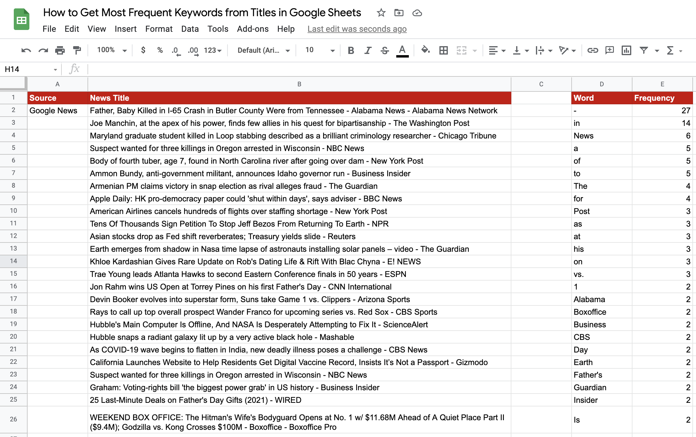 Frequent keywords in Google Sheets