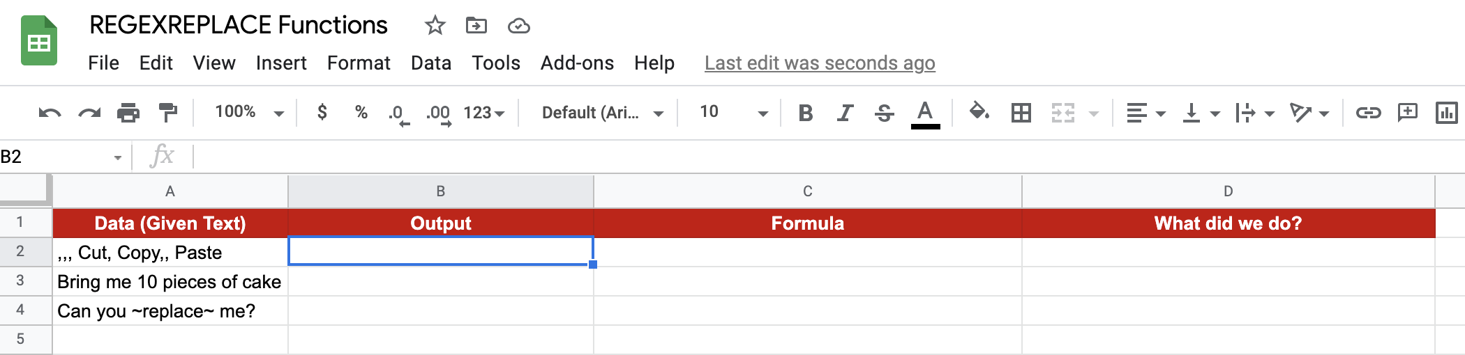 REGEXREPLACE Function in Google Sheets