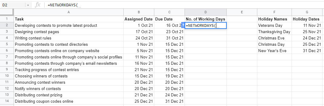 NETWORKDAYS Function in Google Sheets