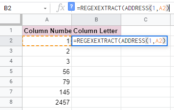 How to Get Column Letter in Google Sheets