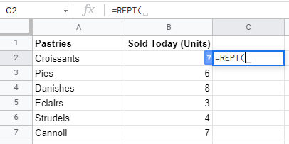 REPT Function in Google Sheets