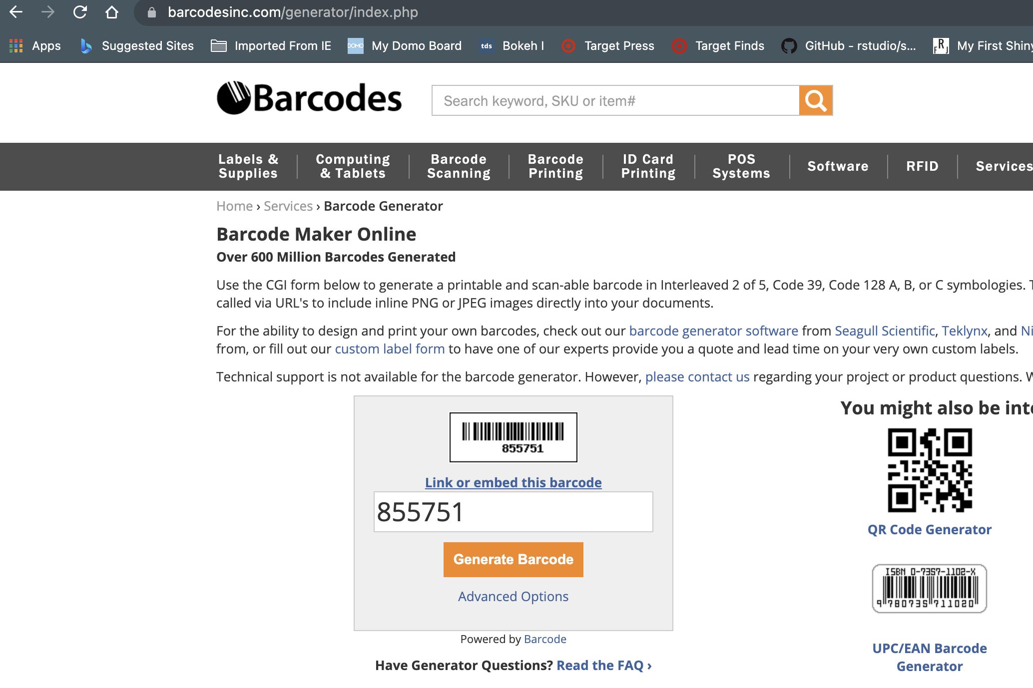 BARCODE online generator