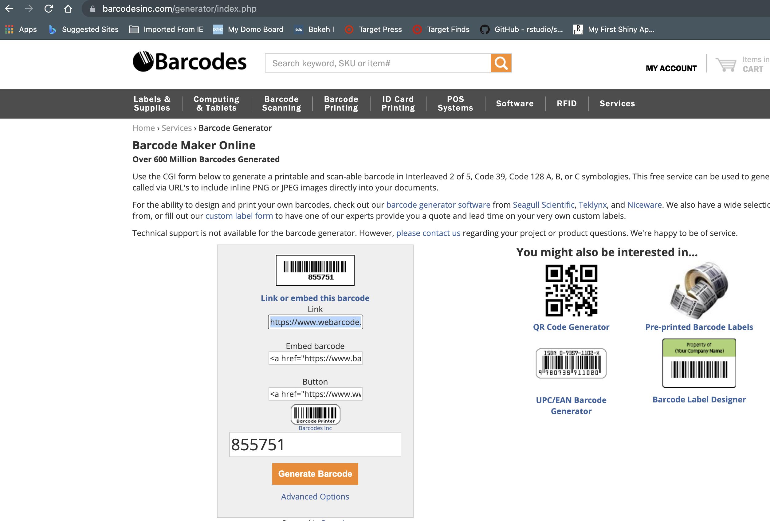 BARCODE online generator link