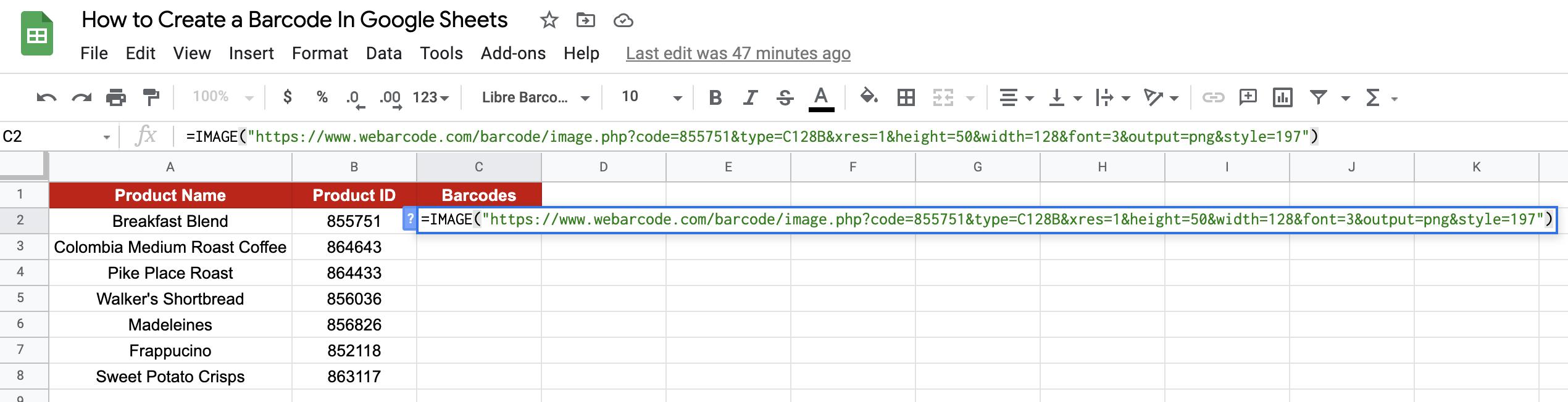 create barcode in google sheets