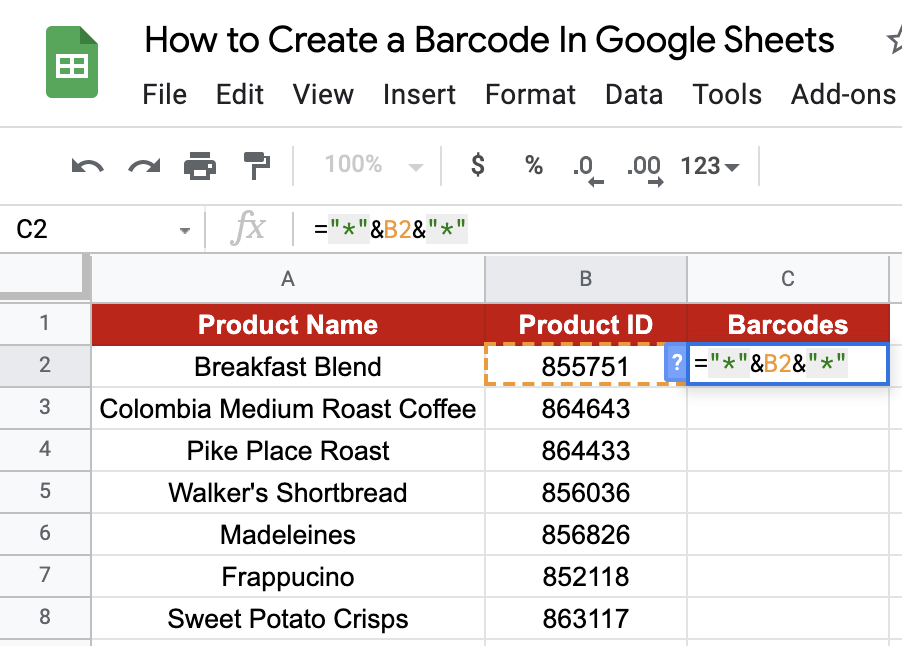 BARCODE in Google Sheets