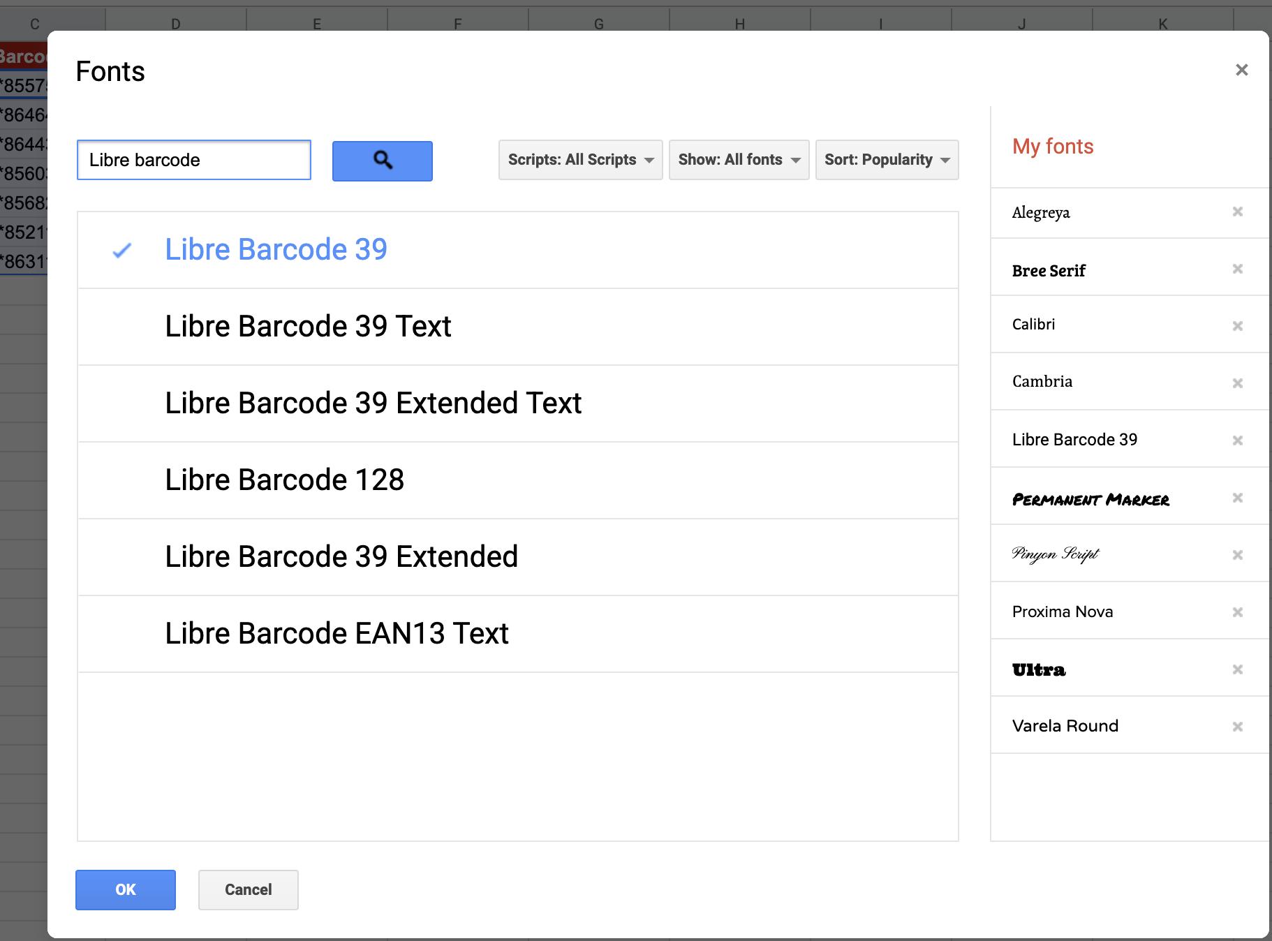 BARCODE font selection 2