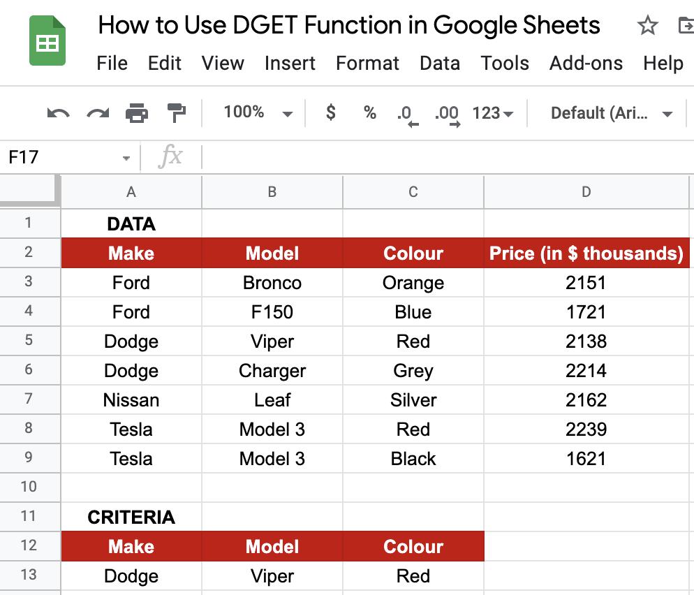 DGET in Google Sheets