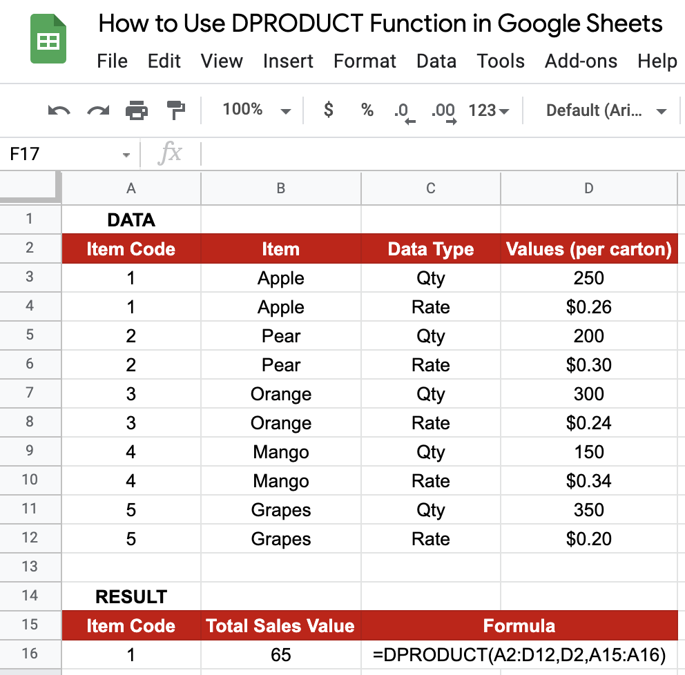 DPRODUCT in Google Sheets