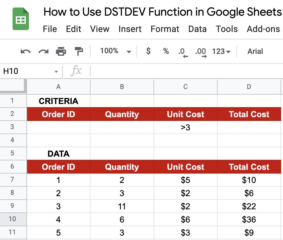 DSTDEV in Google Sheets