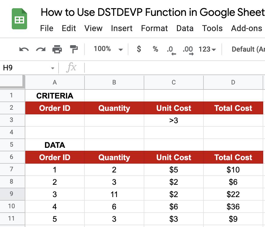 DSTDEVP in Google Sheets