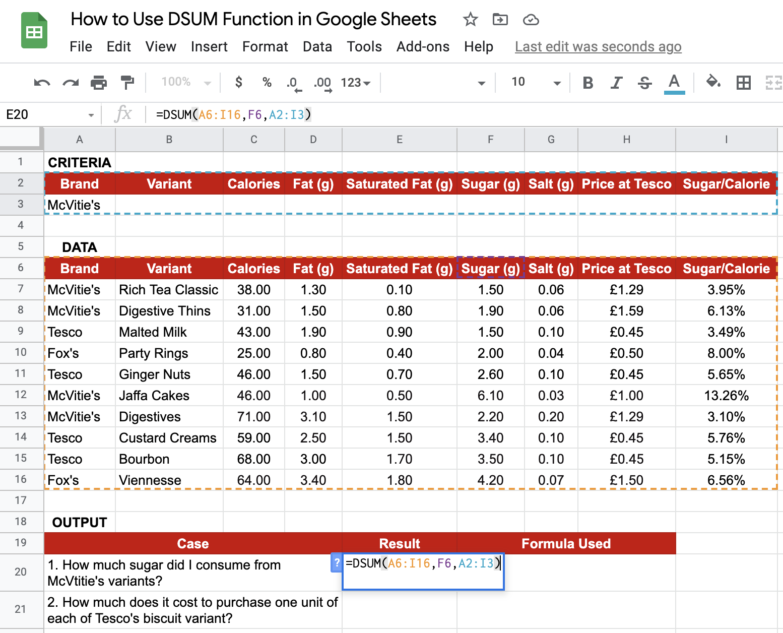 DSUM in Google Sheets