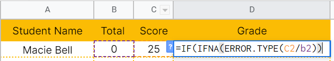 How to use ERROR.TYPE function in Google Sheets